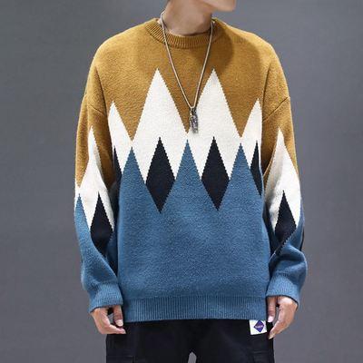 Áo len kiểu dáng Hong Kong áo len hình thoi nam cộng với size áo thun teen mùa thu thủy triều áo len nam - Cardigan