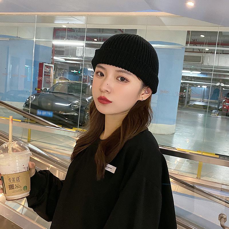 帽子女冬季保暖韩版百々搭针织帽日系复古毛线帽ins风 网红瓜皮帽潮