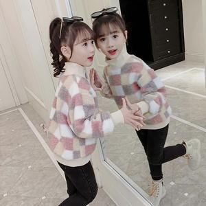 新款宝宝棉衣加绒卫衣冬装2020儿童保暖男童女童上衣夹棉加厚款潮