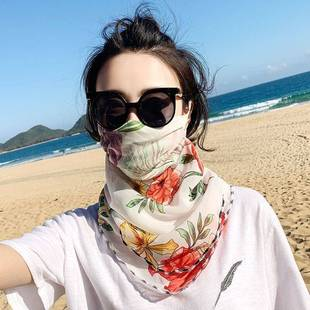 五一出游口夏季防晒护颈女雪纺围脖面罩