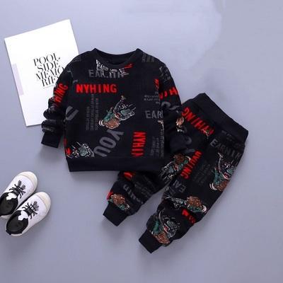 儿童秋冬装男童女童加绒加厚套装宝宝双面绒休闲卫衣中小童两件套