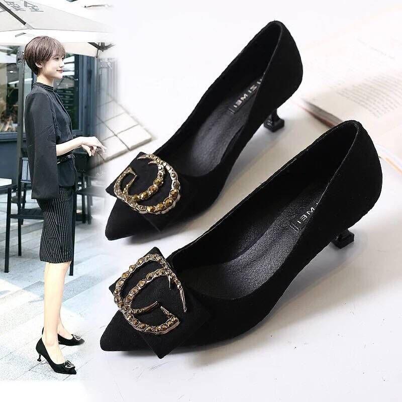 2020网红高跟鞋单鞋女黑色7cm猫跟鞋女新款秋季5cm浅口水钻细跟女