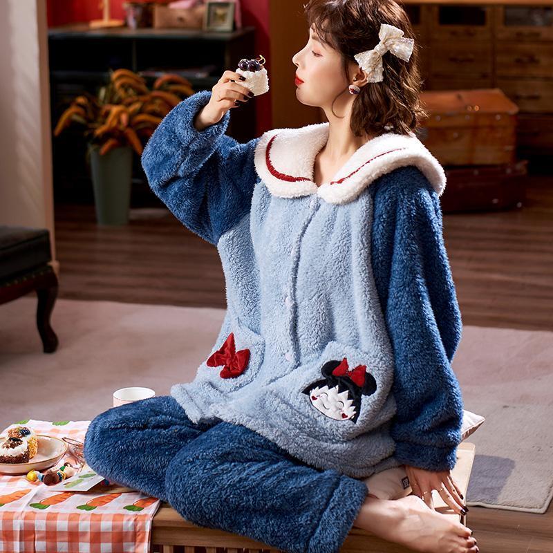 女士睡衣秋冬季珊瑚绒加厚加绒睡衣冬天保暖法兰绒长袖大码家居服