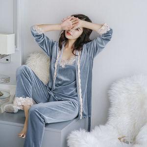睡衣女秋冬季金丝绒三件套长袖性感吊带