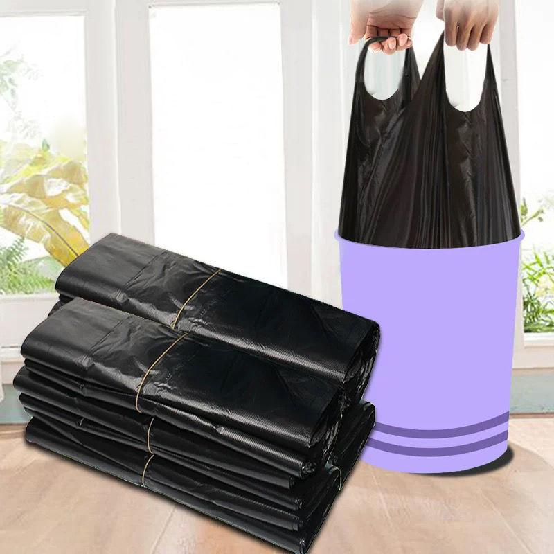 垃圾袋〓家用加厚手提式背心黑色厨房�K中大号塑料袋