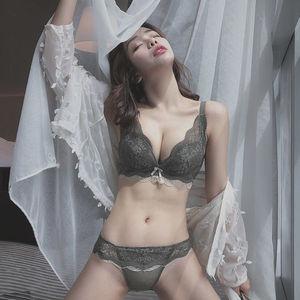 单件/套装 内衣女小胸罩聚拢加厚性感蕾丝文胸无钢圈收副乳防下垂