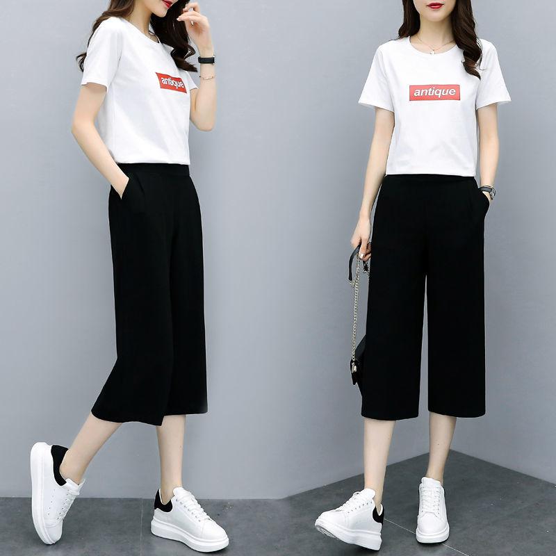七分阔腿裤女夏季学生韩版宽松高腰显瘦九分