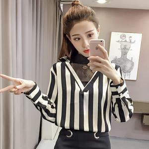 3295#实拍 2018新款女装网纱针织拼接竖条纹长袖衬衫修身假两件