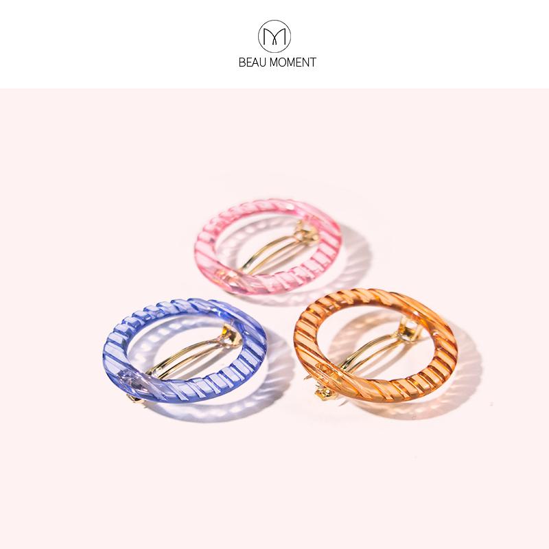 韩国复古冷淡风几何圆形优雅成人边夹透明发夹镂空圆圈刘海夹发卡
