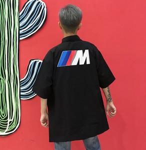 007#(亚博娱乐平台入口三标齐全)原宿复古bf风创意印花半袖衬衫男女同款