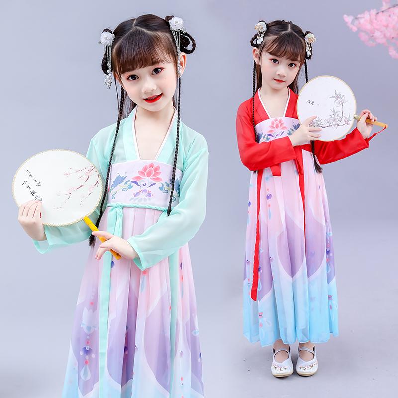 古典中国风汉服连衣裙2020春夏新款女中大童公主裙春夏可爱仙女裙
