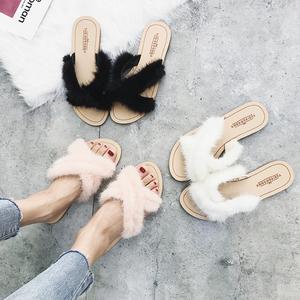 毛毛拖鞋女夏2018新款韓版時尚外穿平底學生軟妹網紅水貂毛涼拖鞋