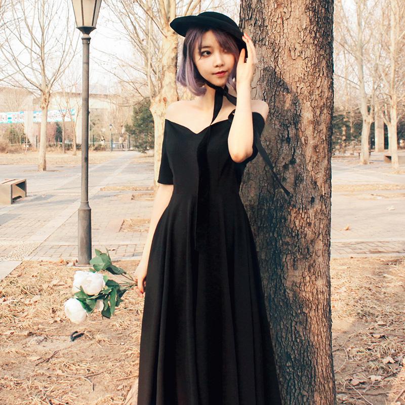 原创设计秋新vintage法式复古小黑裙露肩绑带连衣裙赫本大摆长裙