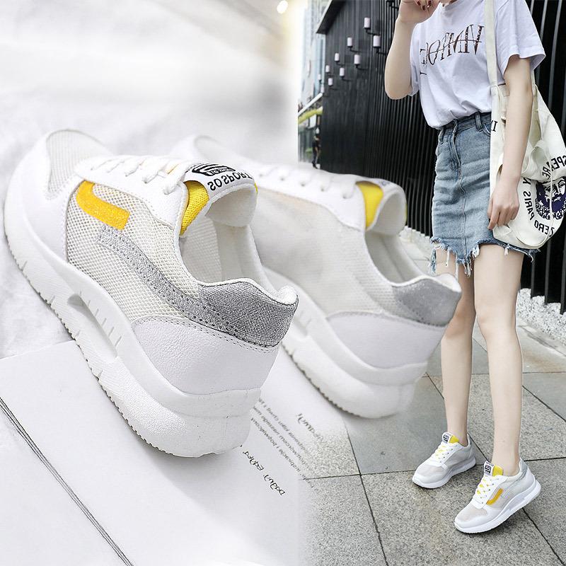 休闲女士内增高韩版运动鞋透气网鞋小白鞋