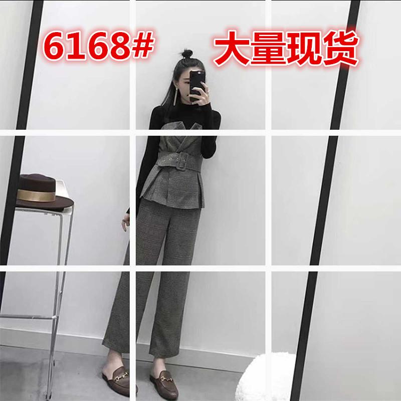 6168#冬季套装女2018新款毛衣v领短款上衣九分阔腿裤时尚三件套