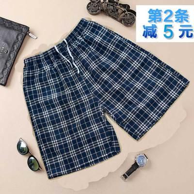 Cha lớn kích thước quần short kẻ sọc của nam giới mùa hè bông năm quần trung niên mỏng bãi biển quần nhà lỏng thường quần