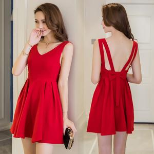 6860#新款韓版紅色裙子無袖海邊度假沙灘短裙修身露背雪紡連衣裙