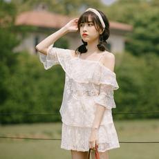 实拍 chic吊带蕾丝短裙洋气套装女夏季显瘦时尚上衣配防走光短裙