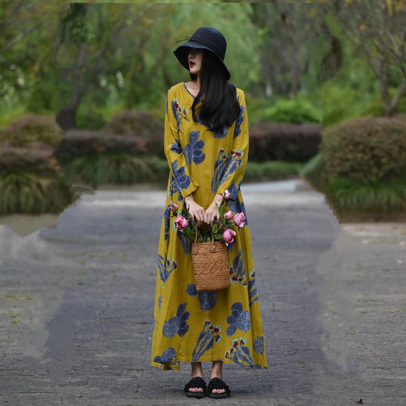 [蝉 羽] Suxin tự chế phong cách dân gian ăn mặc nữ mùa thu retro khóa dài tay áo lỏng lẻo in váy