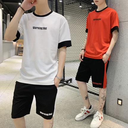 男士短袖大裤衩两件套T恤半袖短裤套装男装 券后68元包邮