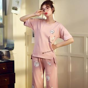 睡衣女夏季薄款可外穿韩版夏天短袖纯棉七分裤春秋家居服女士套装