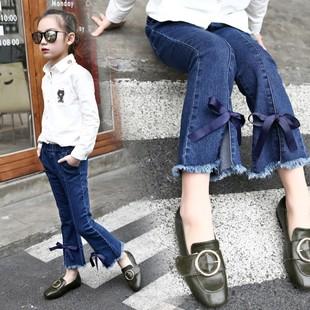 女童牛仔裤百搭喇叭裤