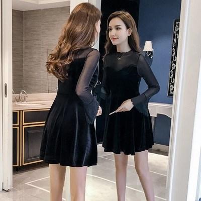 小个子金丝绒修身法式小黑裙春秋款赫本打底连衣裙轻奢名媛晚礼服