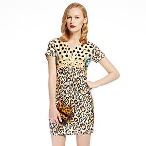 JUZUI 玖 姿 2017 thị trường cửa hàng nữ mùa hè gấp stereo leopard print đính cườm V-Cổ váy