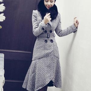 800#2017春装鱼尾型收腰中长款毛呢外套女韩国裙摆呢子大衣特价