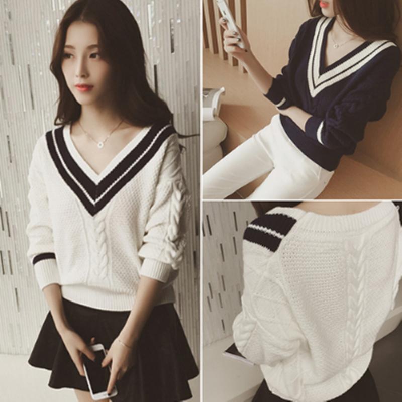 Mùa thu và mùa đông Hàn Quốc phiên bản của v-cổ dài tay áo len nữ đoạn ngắn lỏng sinh viên hải quân gió hit màu áo len áo sơ mi nữ