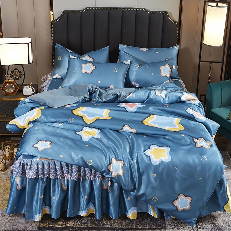 夏季空调凉席三四件套公主风床裙被套床上用品冰丝席子1.8m2.0米