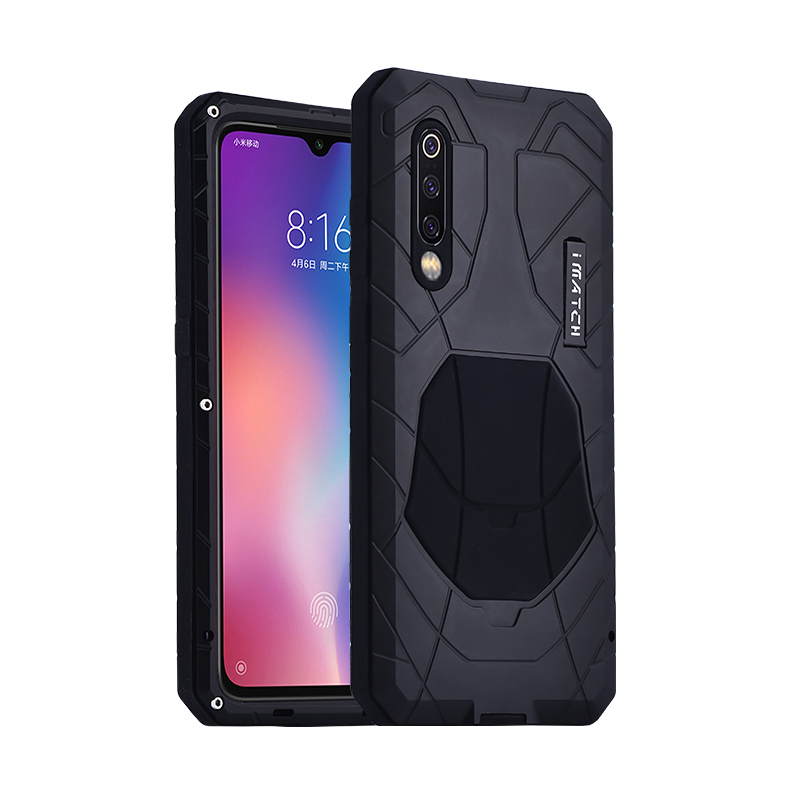 iMatch Water Resistant Shockproof Dust/Dirt/Snow-Proof Aluminum Metal Military Heavy Duty Armor Protection Case Cover for Xiaomi Mi 9
