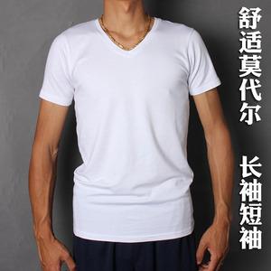 Modal cotton siêu mỏng ngắn tay t-shirt nam đáy áo V-Cổ màu trắng tinh khiết dài tay mùa hè ăn mặc nửa tay