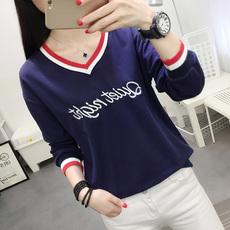 实拍 新款2019韩版女装秋装新款宽松V领长袖T恤6015