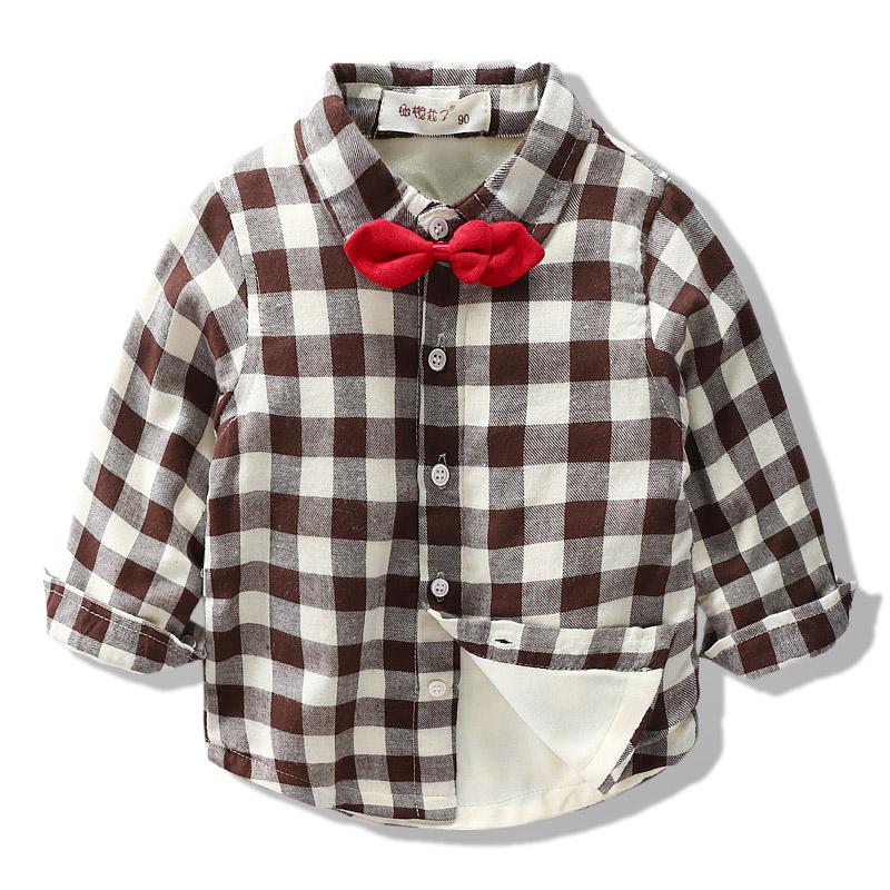 男童加绒长袖衬衫秋冬装2018秋装新款儿童装加厚长袖衬衣宝宝韩版