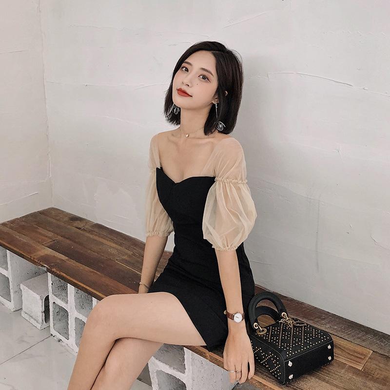 ◆ yang momo ◆ đầm ren Hàn Quốc cao eo ôm một từ váy đèn lồng tay áo màu đen khâu một bước váy