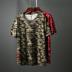 Xu hướng mùa hè mới ngụy trang thêu lỏng XL ngắn tay T-Shirt nam nửa tay áo vòng cổ áo sơ mi 8107 áo thun thể thao nam Áo phông ngắn