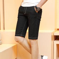 夏季薄款弹力大码牛仔短裤男七分裤修身5分马裤五分裤男休闲中裤