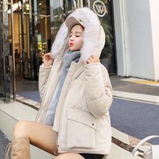实拍2018冬季韩版金丝绒羽绒棉服女短款大毛领宽松学生面包服外套
