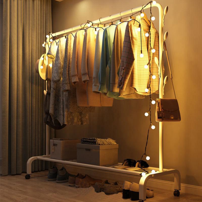 衣帽架家用晾衣架落地卧室挂衣架子简易宿舍室内折叠收纳晒衣服杆