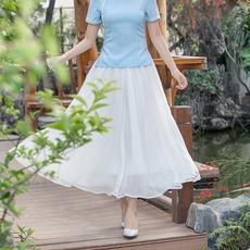 6067#2018夏装新款中国风百搭雪纺白色双层雪纺 日常飘逸半身裙女