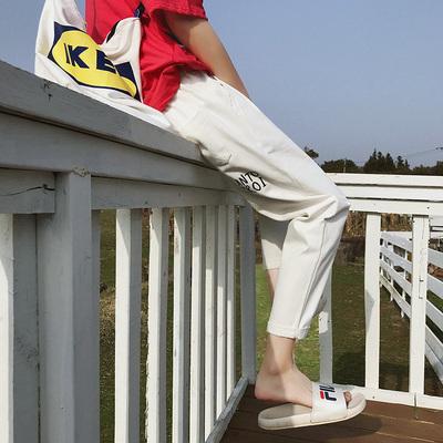 Ins siêu quần cháy người đàn ông sang trọng Han Feng thẳng Hong Kong hương vị retro chín quần quần âu Hồng Kông thủy triều triều chuỗi mùa hè Crop Jeans