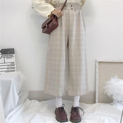 taobao agent 2021 new Japanese soft girl high waist slim loose student wide-leg pants lattice nine-point casual pants female spring and autumn clothes
