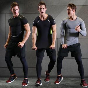 Quần áo thể dục phù hợp với nam chạy nhanh khô ngắn tay bó sát phù hợp đồng phục bóng rổ thể thao quần áo đào tạo phù hợp với kích thước lớn nén quần áo