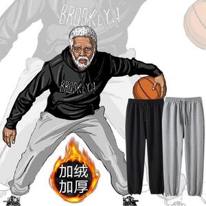 秋季加绒韩版裤子男阔腿裤宽松直筒篮球裤束脚运动裤男学生卫裤