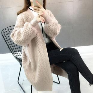 上衣慵懒风毛衣中长款女开衫外套
