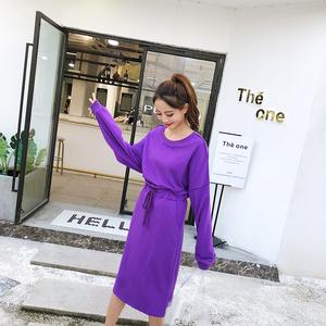 實拍2019春新款韓版女裝休閑百搭時尚套裝學生大碼寬松針織連衣裙