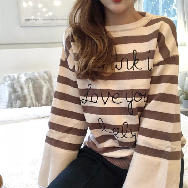 实拍  韩国chic风港味复古宽松打底套头 刺绣条纹毛衣#4023
