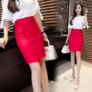 實拍5380春夏高腰包臀半身裙女短裙修身彈力開叉一步裙OL職業包裙
