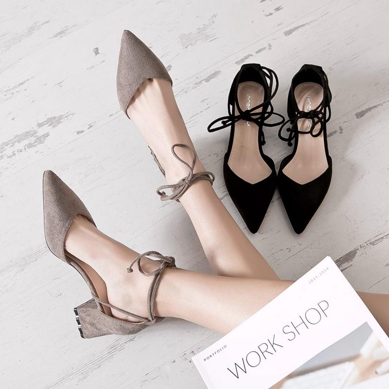鞋子女2018新款黑色高跟鞋女浅口粗跟尖头单鞋女中跟百搭凉鞋女鞋【券后79.00元】